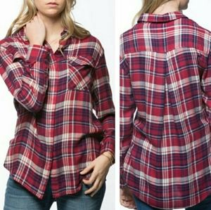 Jachs Girlfriend bea red navy button down flannel